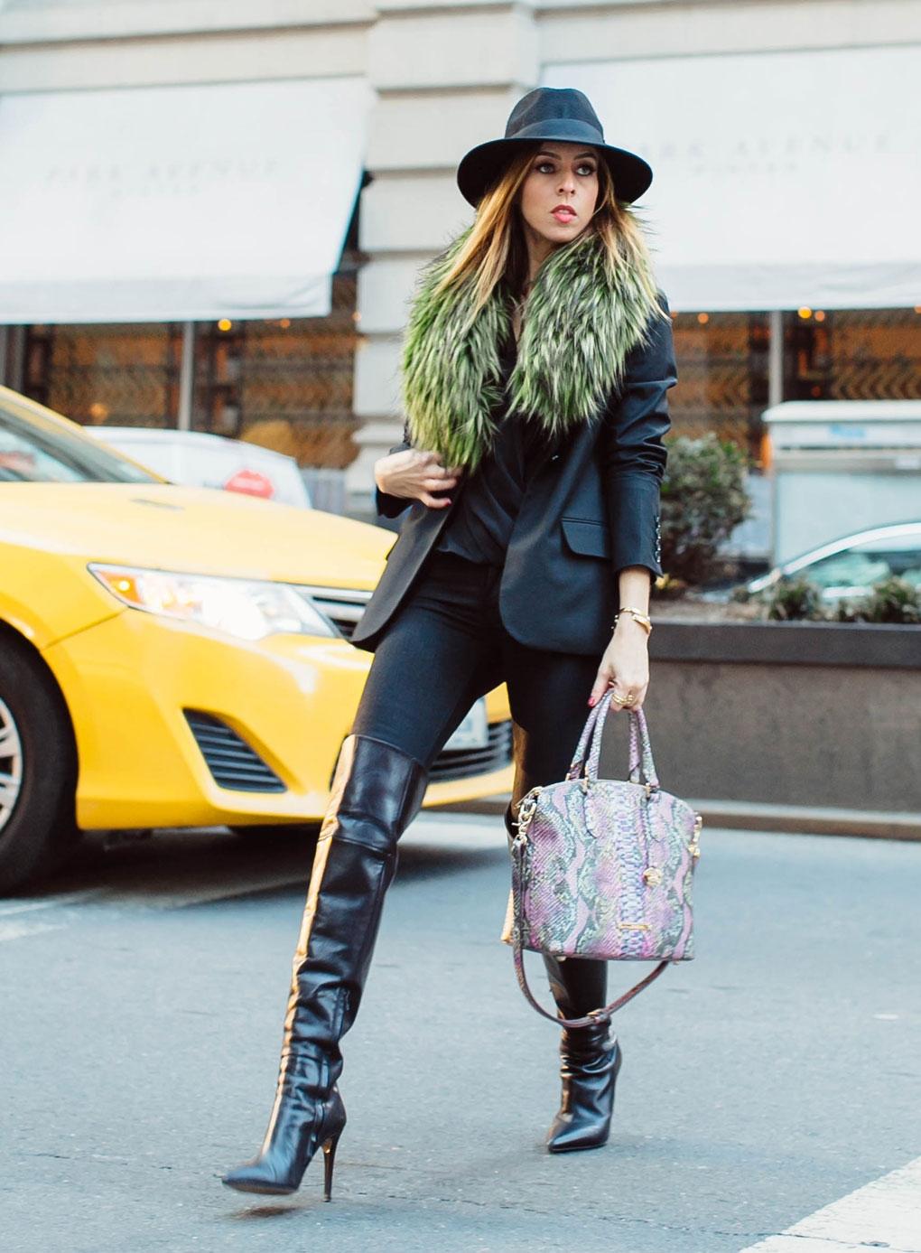 bright accessories at fashion week