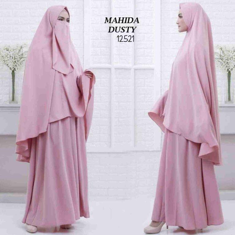 model gamis syari polos bercadar 2019 mahida pink