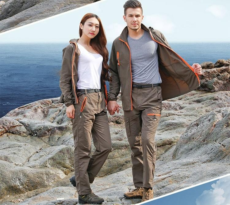 outdoor quick dry breathable clothing set men women spring