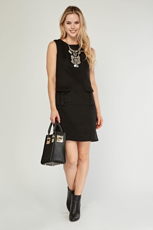 sleeveless pocket flap front mini dress black just 5
