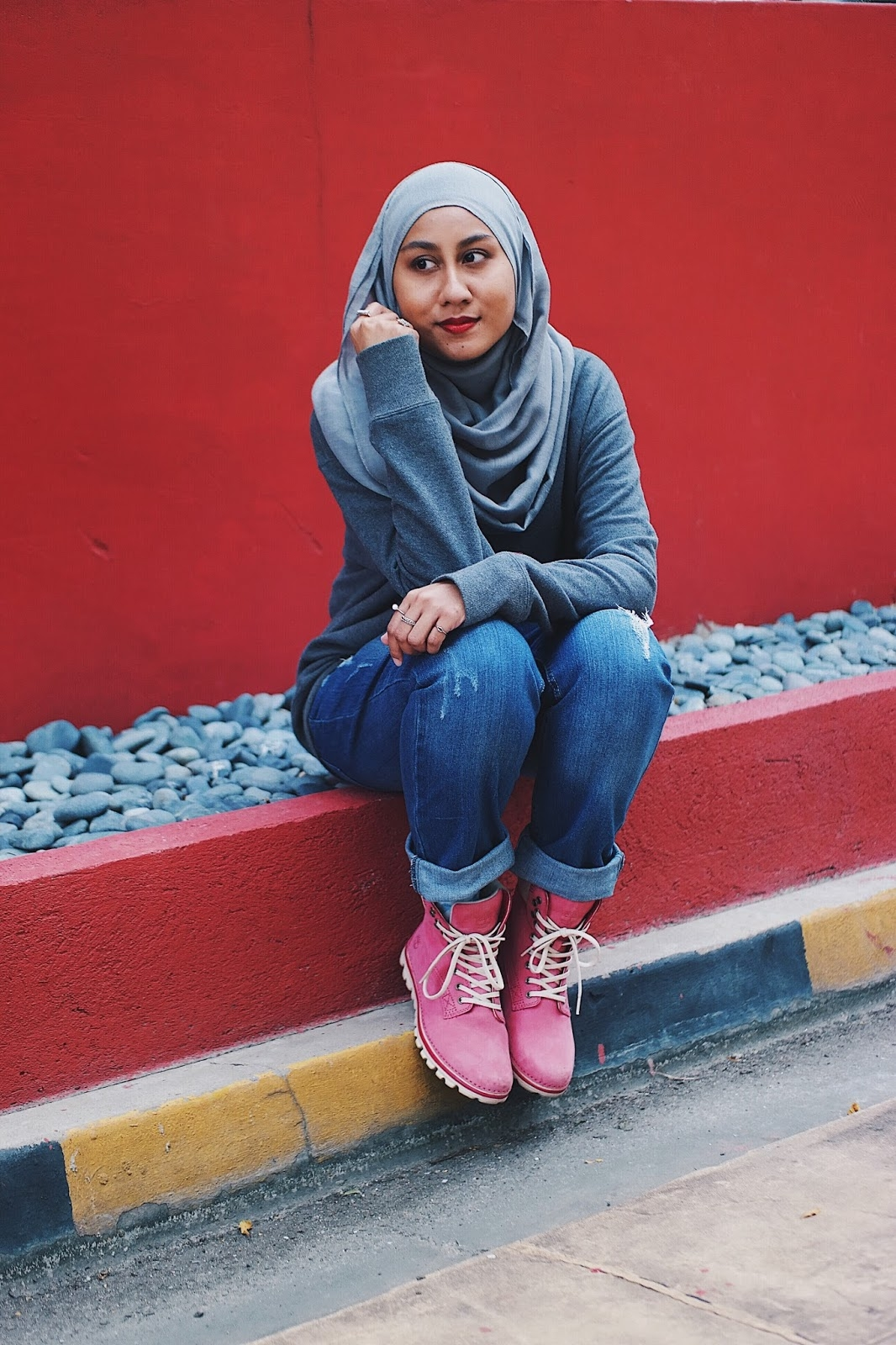 super pink timberland boots and happy world hijab day