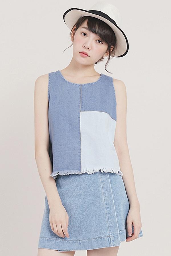 tokyo fashion womens mixed denim crop top japanesekorean