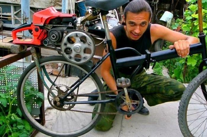 video pria ini ciptakan sepeda dengan mesin gergaji