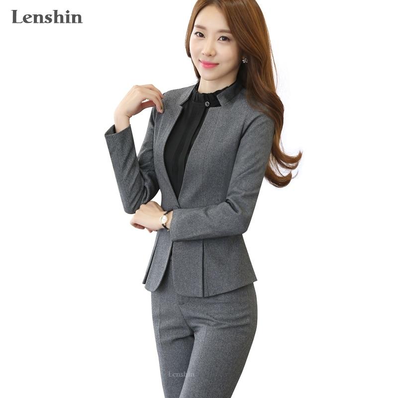 2 piece gray pant suits formal ladies office ol uniform
