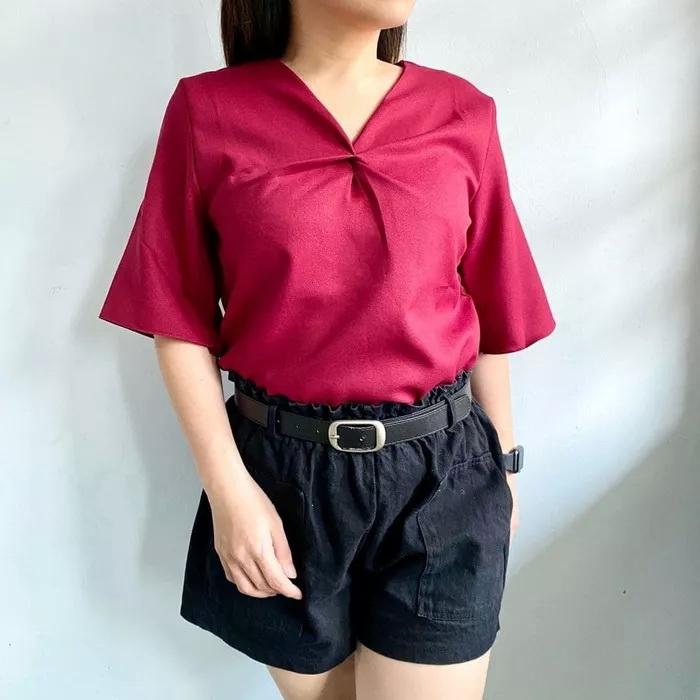 baju atasan wanita lengan pendek polos ryn fashion