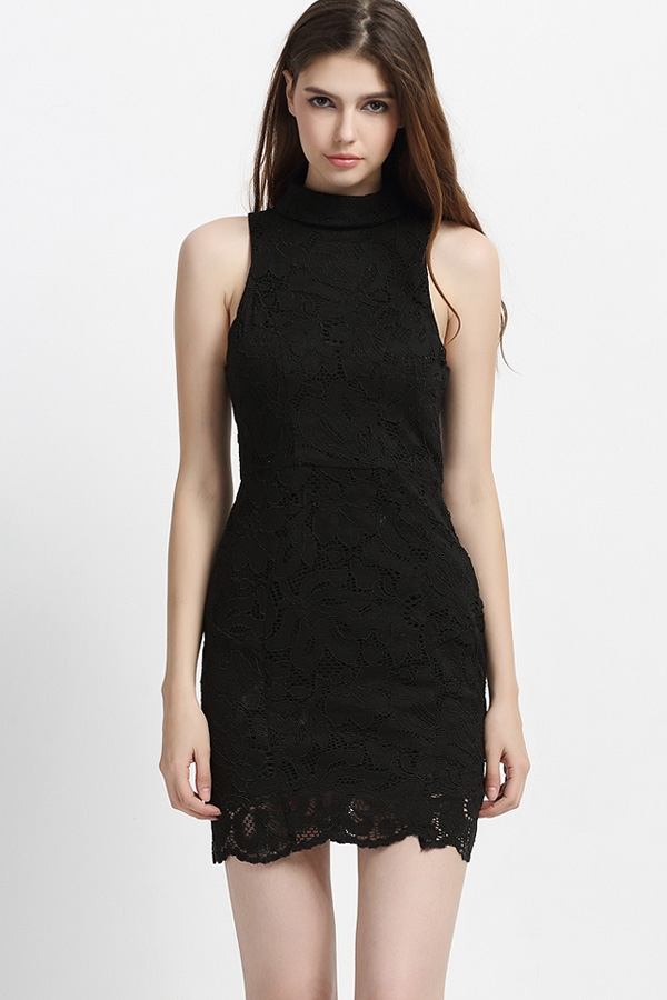 black lace turtle neck sleeveless bodycon party dress