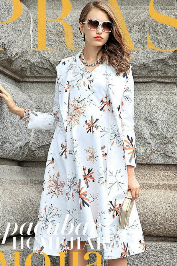 blazer wanita korea floral 2 pcs long coat a218314