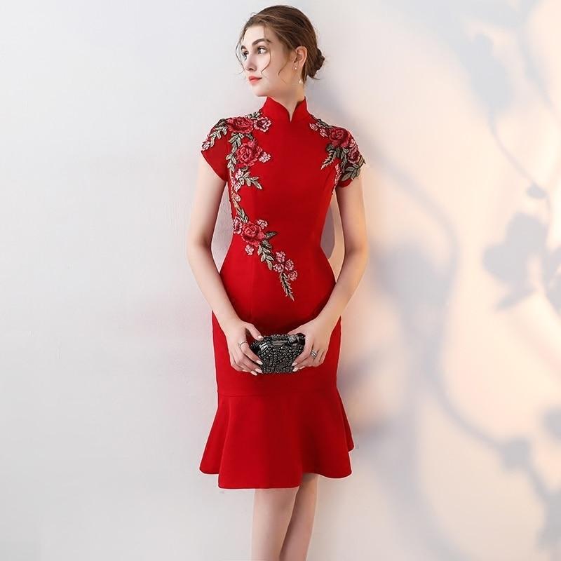 chinese traditional dress modern cheongsam robe chinoise
