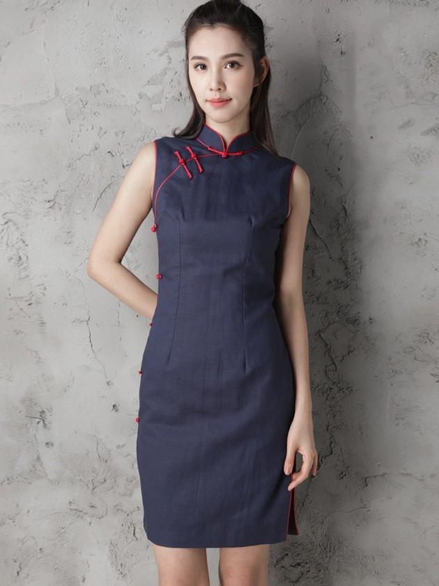 custom tailored navy blue modern qipao cheongsam dress