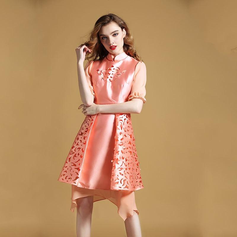 delightful modern qipao cheongsam style dress pink