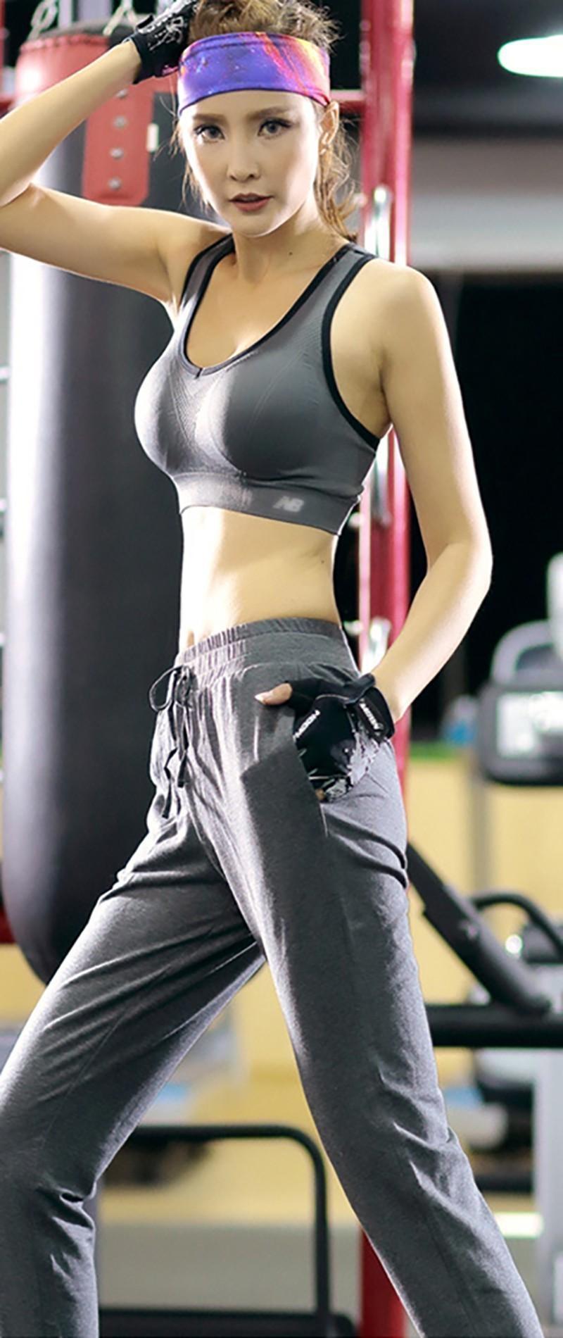 fashion women cotton yoga pants breathable trousers high