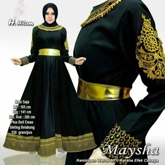 gamis baloteli modern india modern maysha dress hitam
