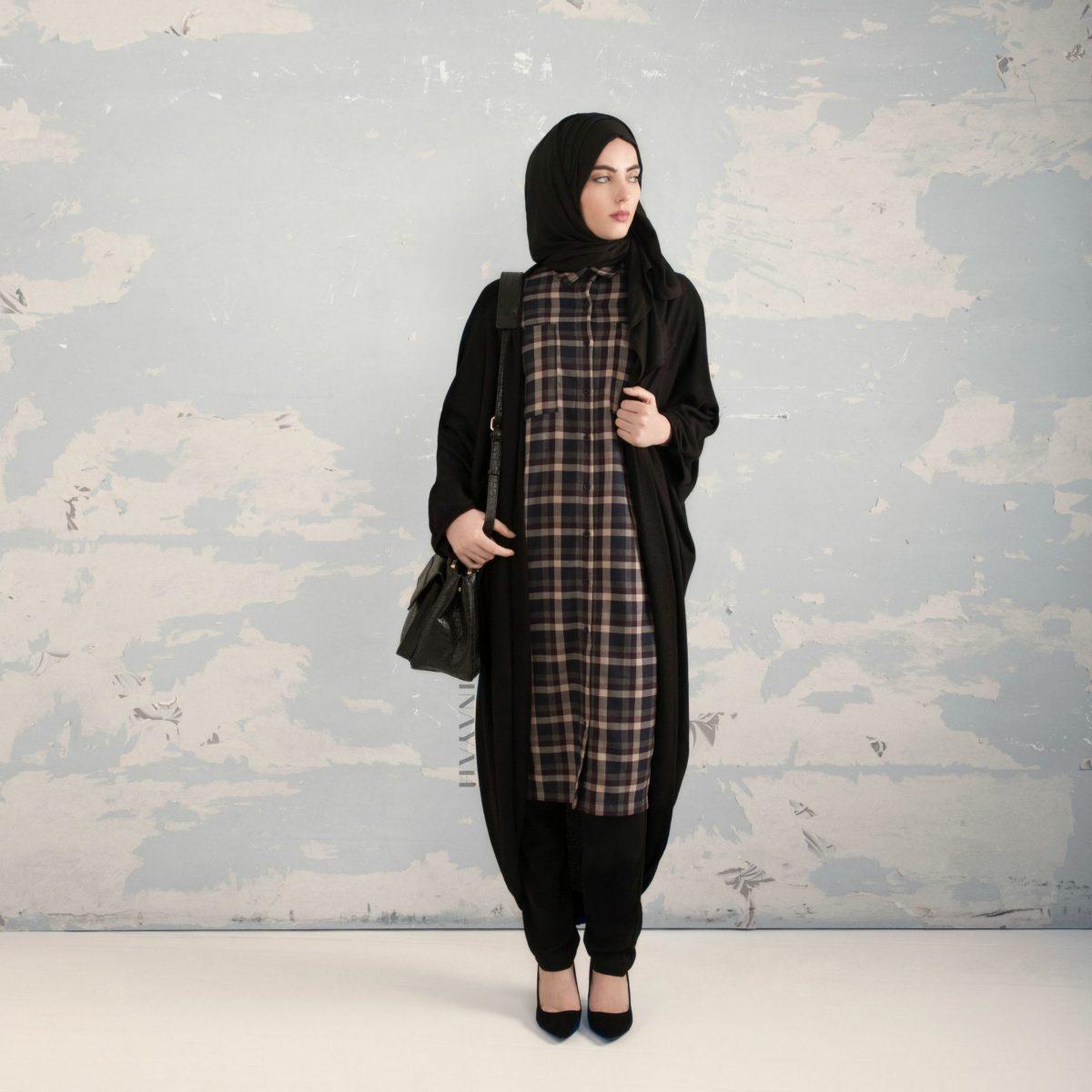 inayah black cascade cardigan long flannel shirt