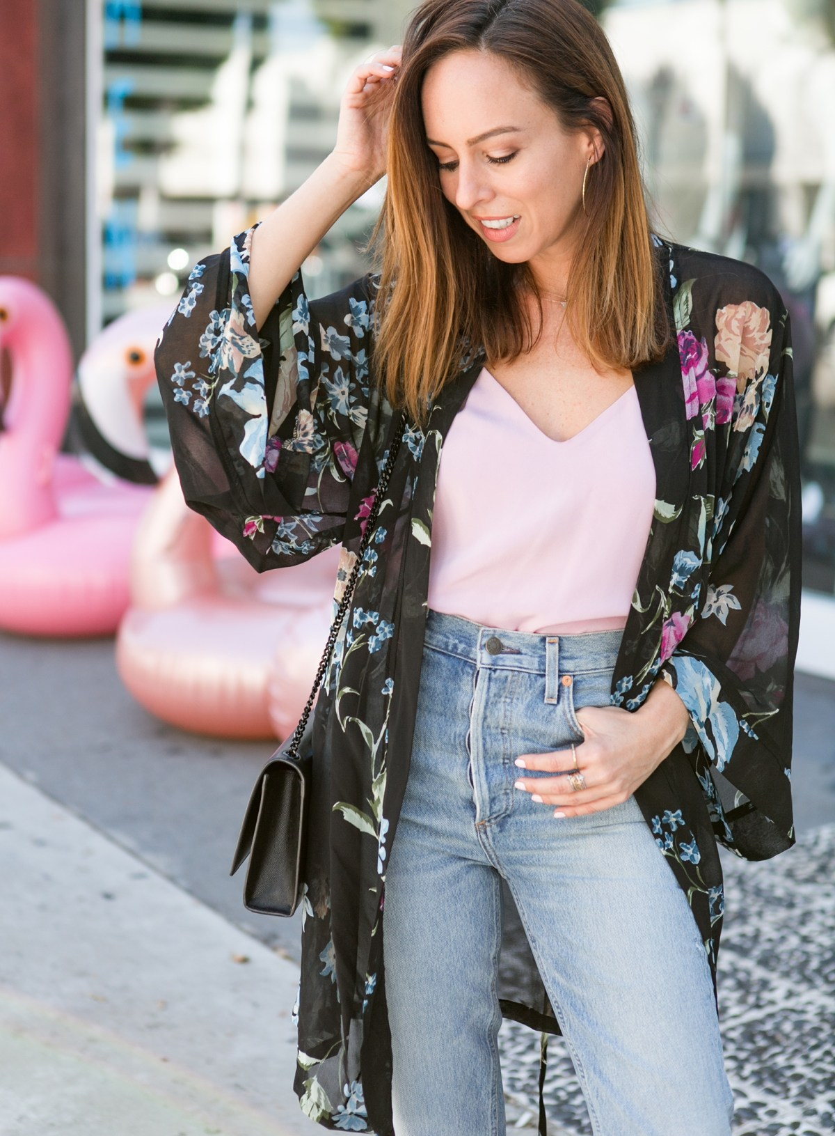 inspired katie holmes in a kimono and jeans celebrity