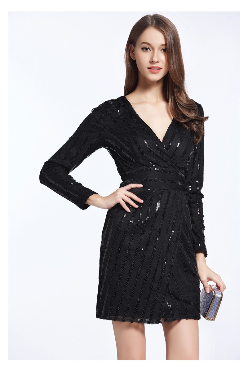 little black sequin long sleeve party dress 5922