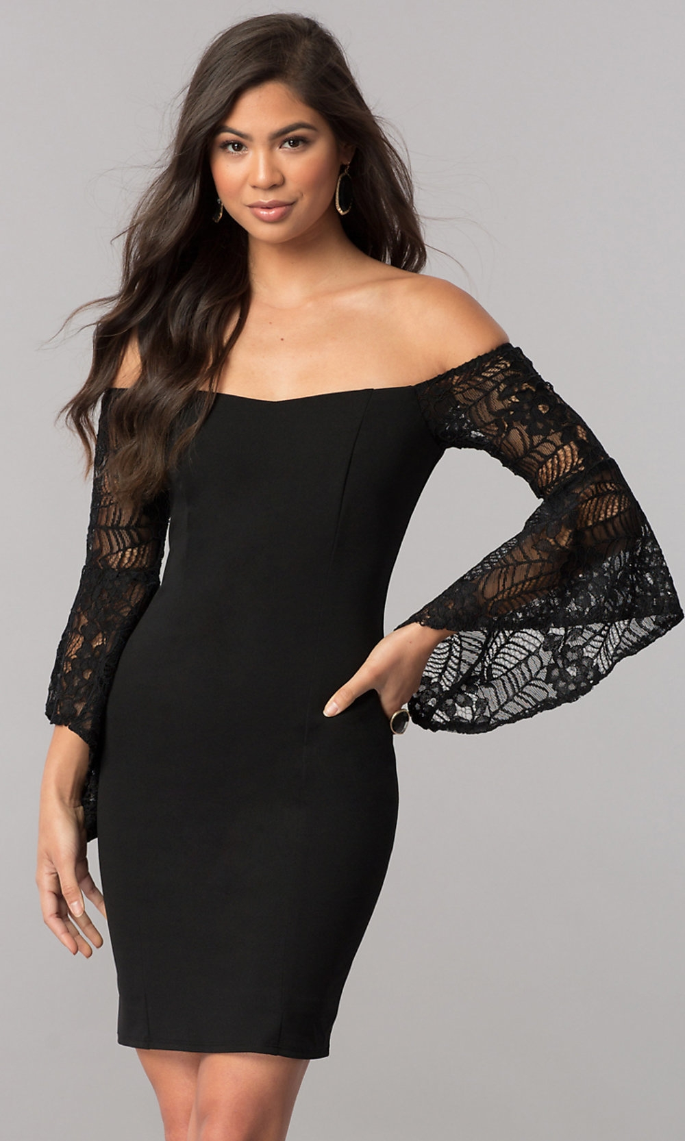 long sleeve short black cocktail party dress