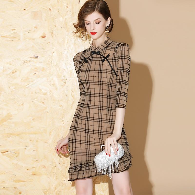 modern uneven hem plaid pattern qipao cheongsam dress