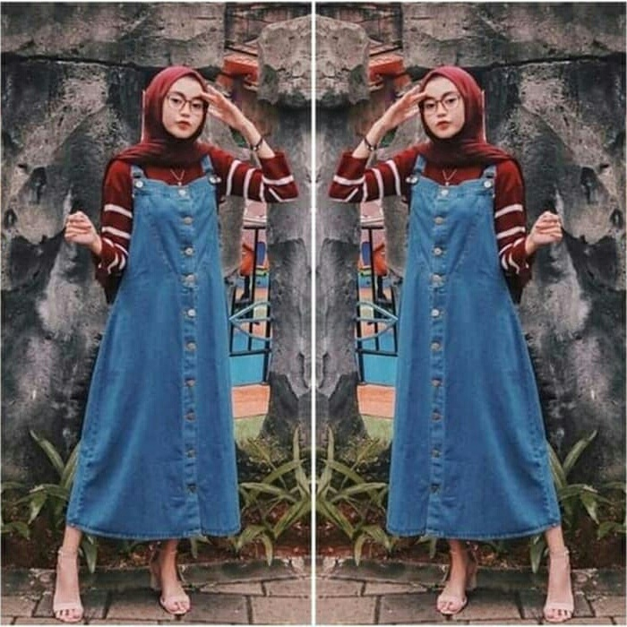 ootd overall rok jeans hijab