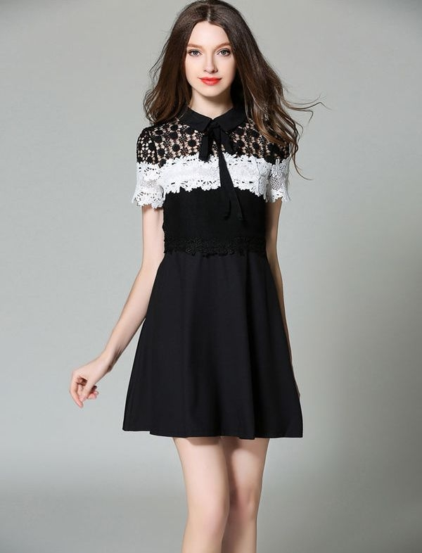 price 1230 fashion lace patchwork doll collar bow