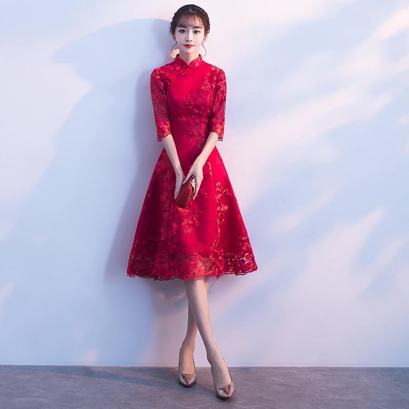 red modern cheongsam sexy short qipao dress oriental style