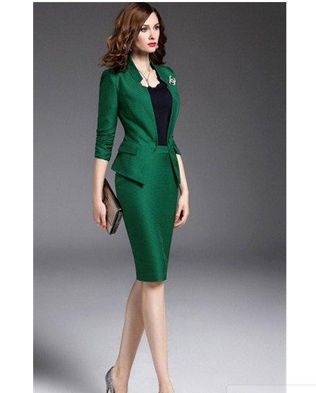 setelan baju kerja wanita blazerrok pendek hijaumodern