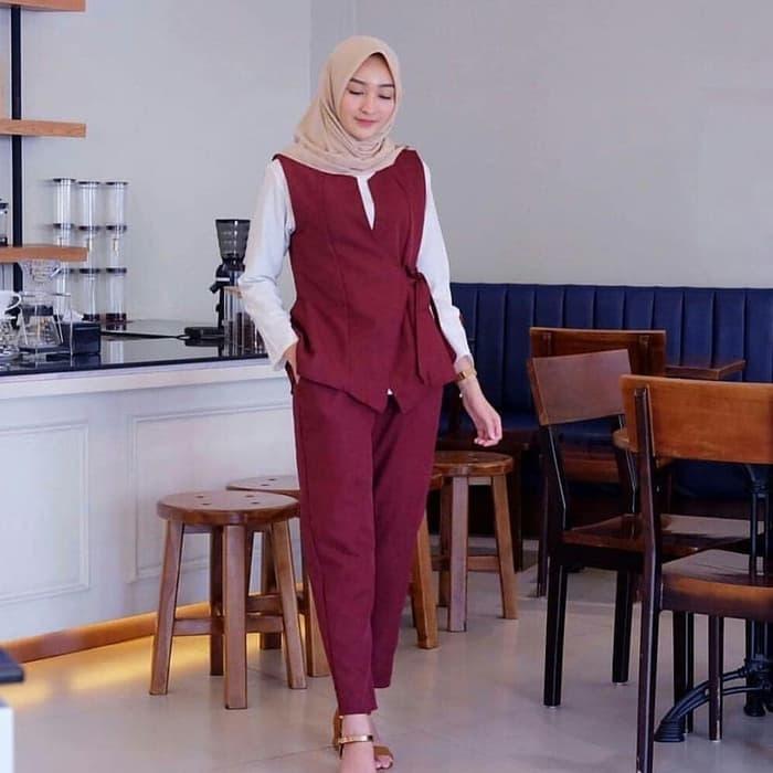 setelan baju muslim dan celana panjang rompi modern ryn