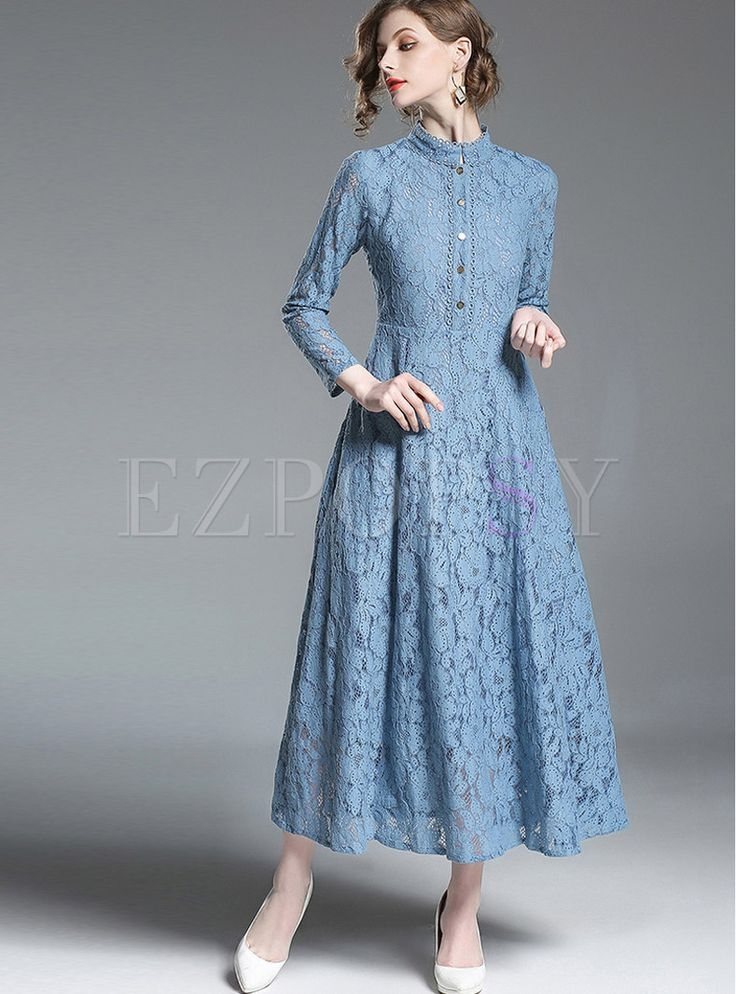 solid color long sleeve hollow out lace maxi dress