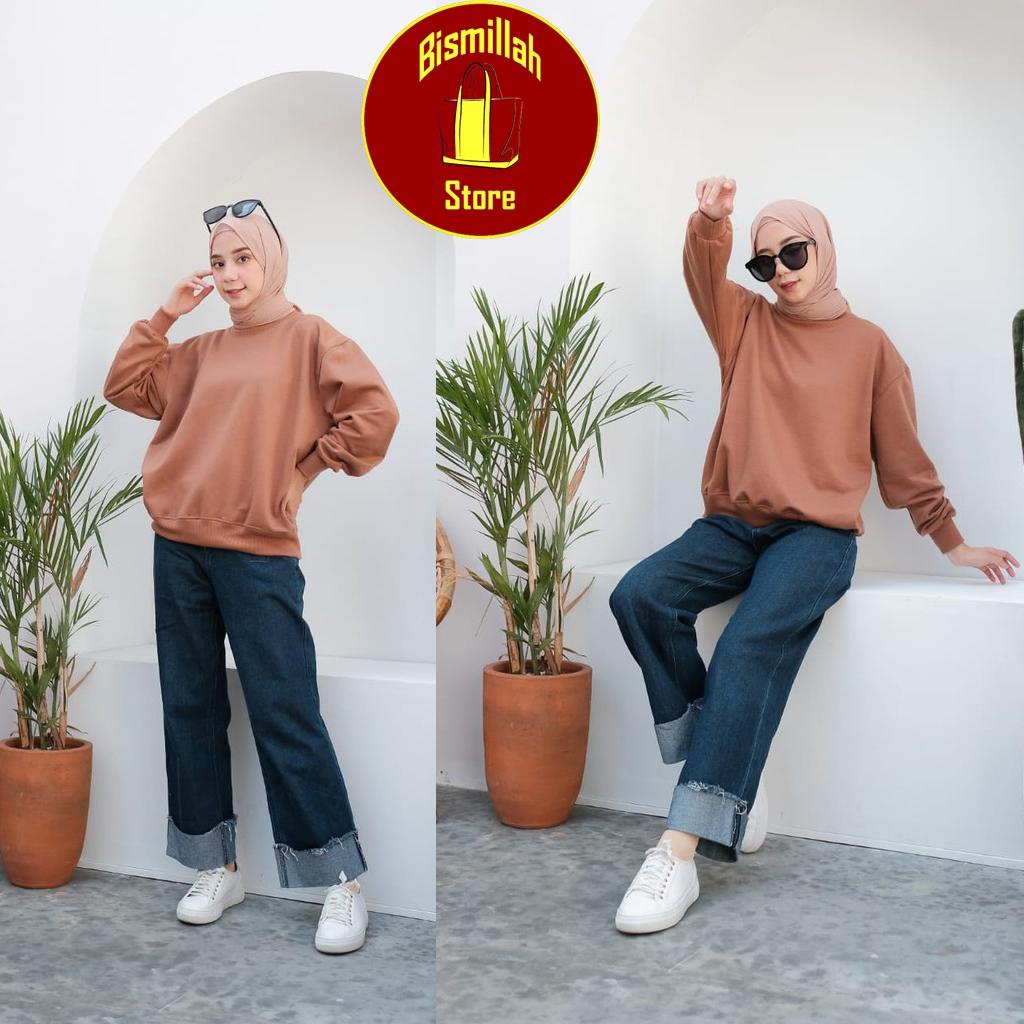 sweater wanita trendi bahan fleece qd93 jenis kain