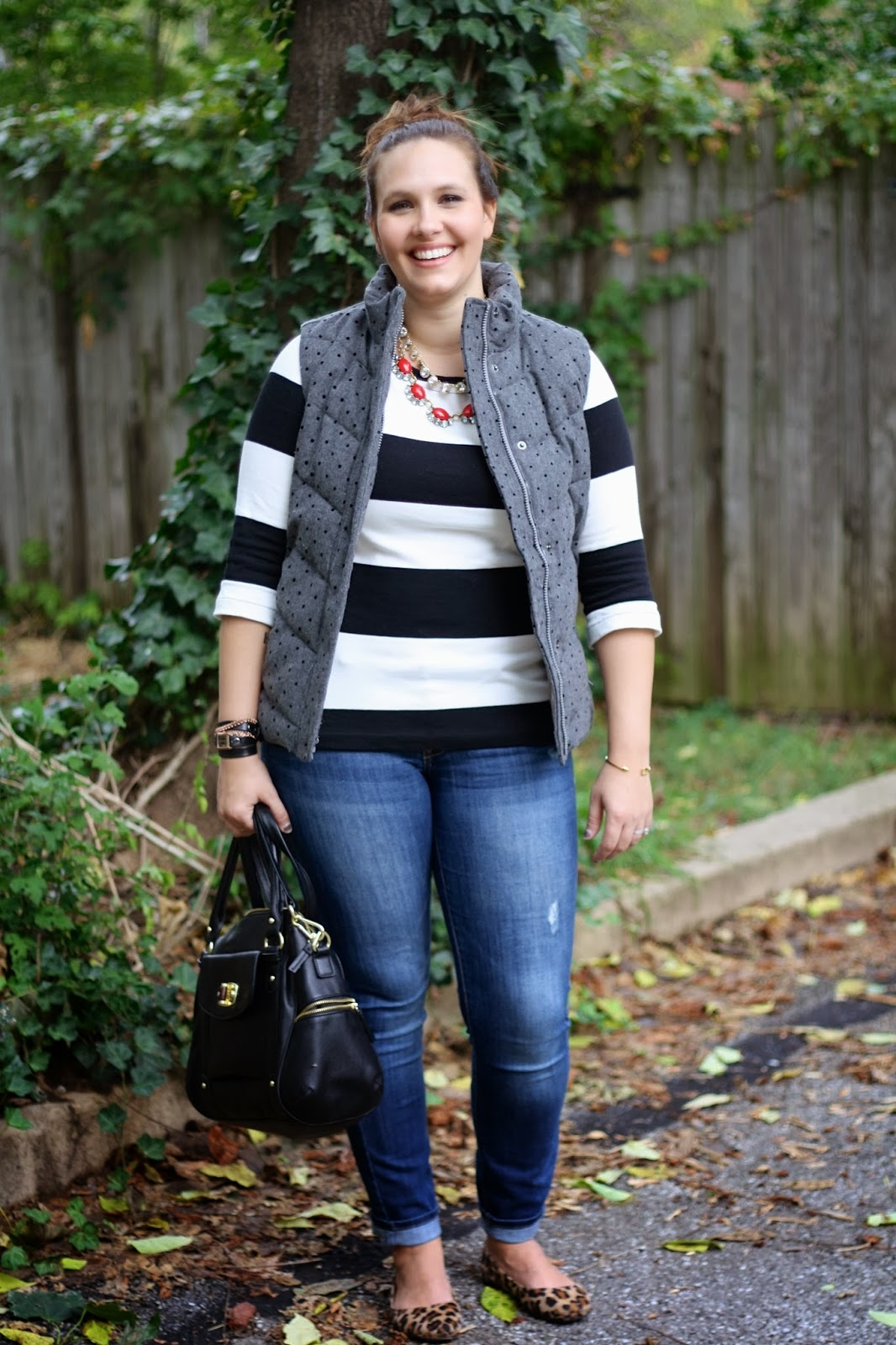 the perfect fall puffer vest mommy in heels