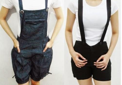trend model baju celana kodok jeans panjang dan pendek