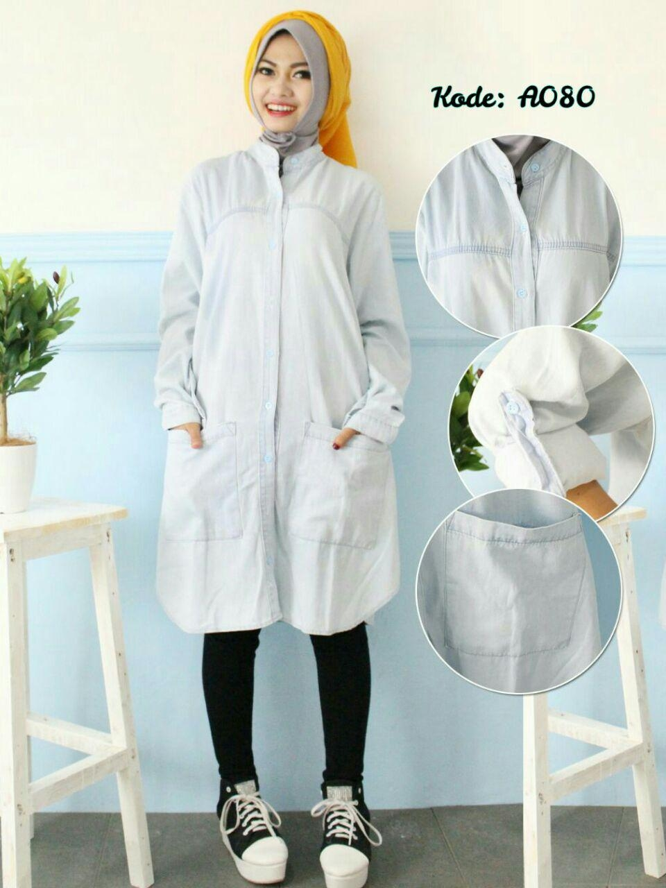 tunik kemeja jeans a080 baju hijab style ootd 1