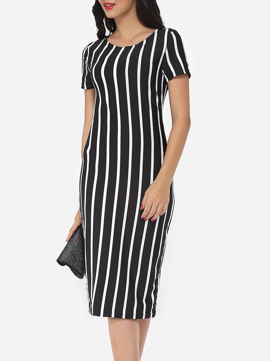 vertical striped modern round neck bodycon dress with