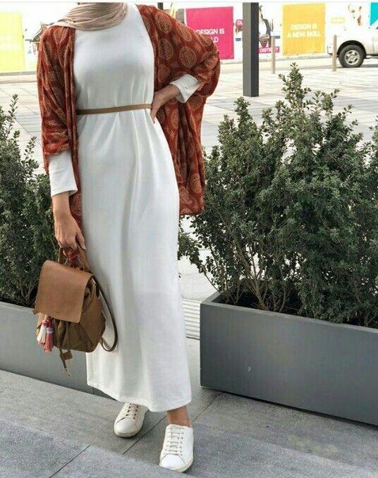 white hijab dress with boho kimono hijab outfits