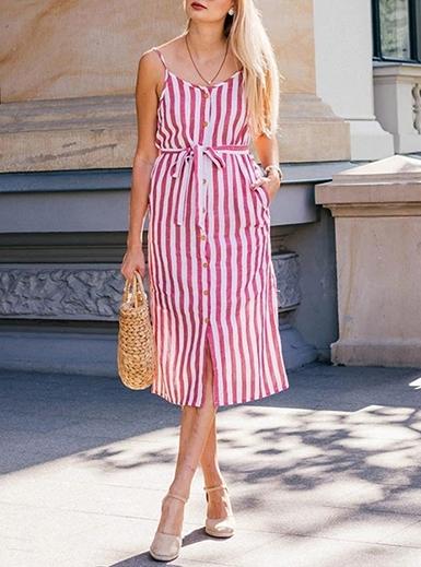 wmns summer dress vertical striped button down red