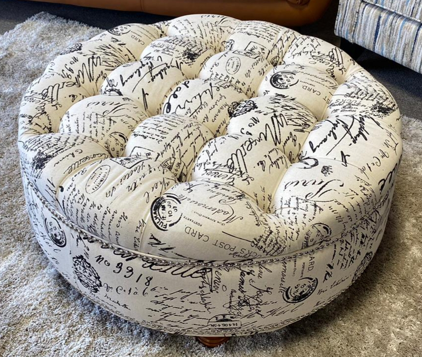 canvas round ottoman langley home