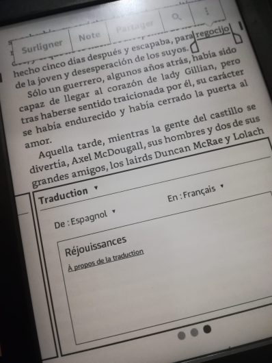 kindle espagnol traduction