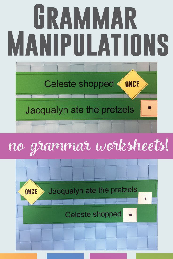 Grammar Manipulations are a kinesthetic approach to teaching grammar - no grammar worksheets! Let students practice punctuation, sentence patterns, and writing skills with this interactive grammar activity.