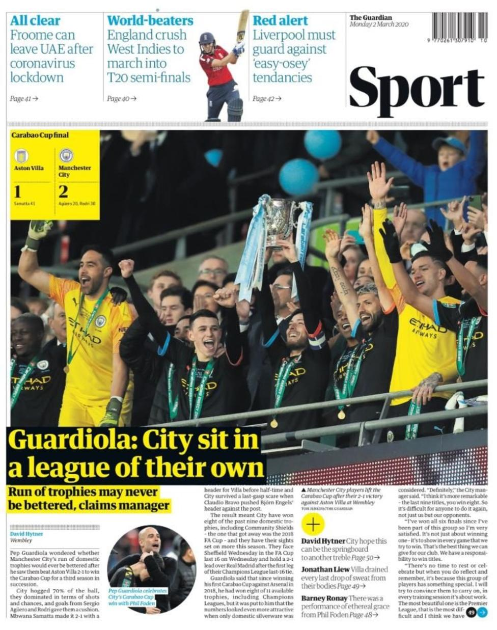 Newspaper Headline: Guardiola: City sit in a league of their own