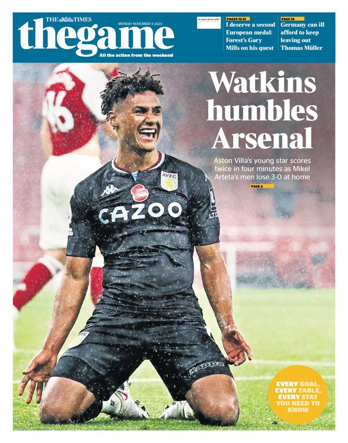 Newspaper Headline: Watkins Humbles Arsenal