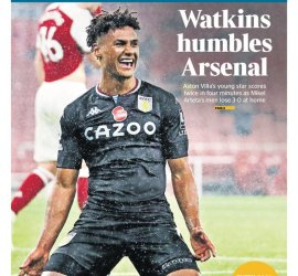 Newspaper Headline: Watkins Humbles Arsenal