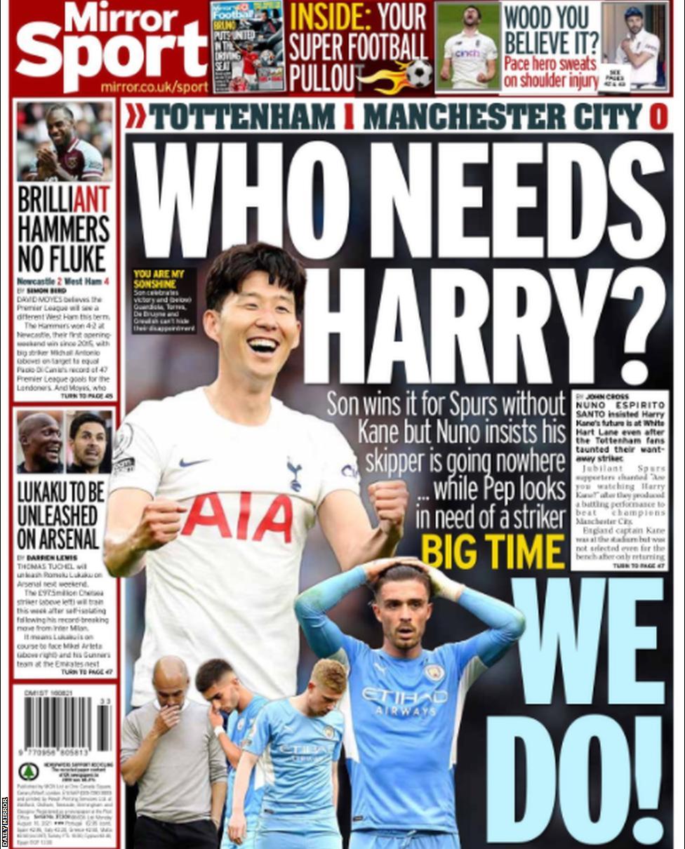 Football Newspaper Headlines: Who Needs Harry?