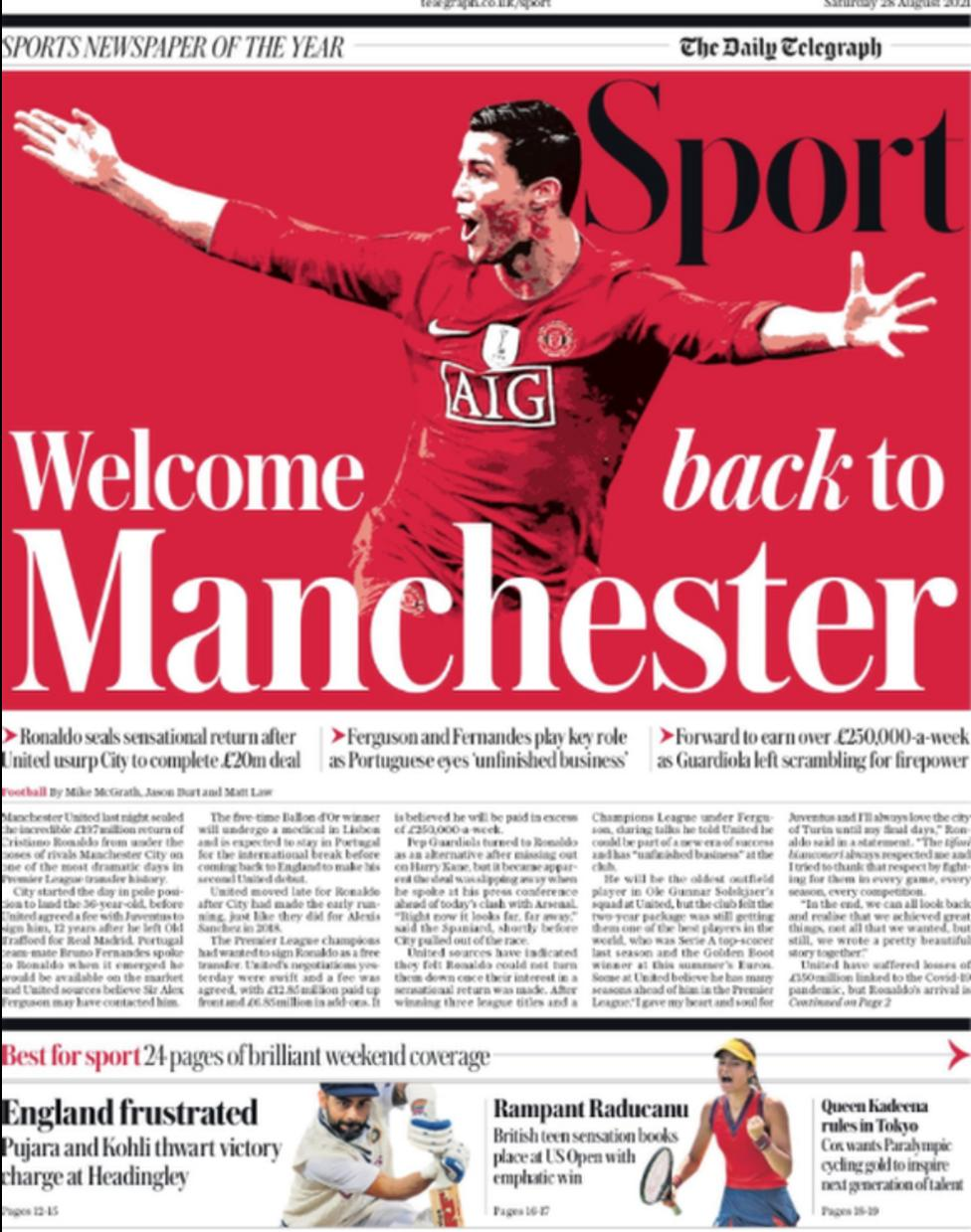Football Newspaper Headlines: Welcome Back To Manchester
