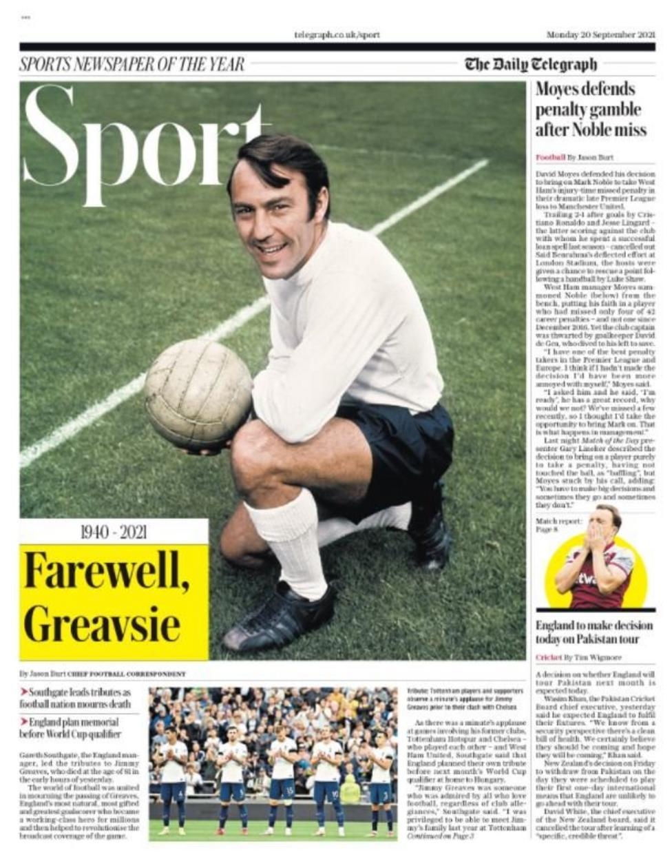 Football Newspaper Headlines: Farewell Greavsie