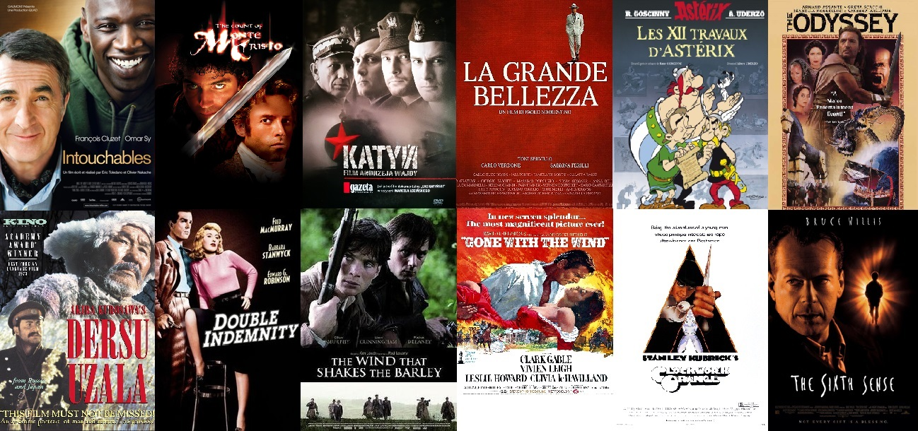 Watch our recommended movies free online. Including, Intouchables , ASTÉRIX LE GAULOIS, DERSU UZALA, LA GRANDE BELLEZZA , SPRING, SUMMER, FALL, WINTER AND SPRING, YOJIMBO , LES 12 TRAVAUX D'ASTÉRIX, THE WIND THAT SHAKES THE BARLEY, THE SIXTH SENSE , DOUBLE INDEMNITY . A CLOCKWORK ORANGE , LORD OF THE RINGS ANIMATED, A KID IN KING ARTHUR'S COURT, THE ODYSSEY 1997, BLACK ROBE 1991,Atanarjuat: The Fast Runner, the count of monte cristo, SEARCHING FOR BOOBY FISCHER, ATILLA THE HUN 2001,GONE WITH THE WIND, The Rescuers, dual subtitles, french, francais sous-titres, subtitles, italian, english