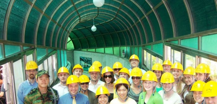 class with safety helmets