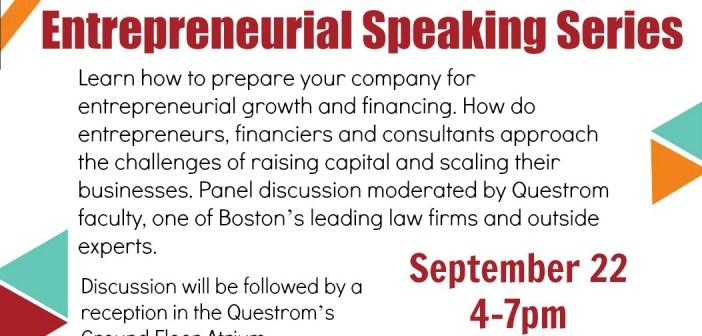 Speaking Panel: Thursday, 9/22, 4 pm: Questrom Room 4