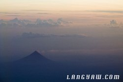 Beautiful Mayon Volcano as seen from the plane during an early morning flight.