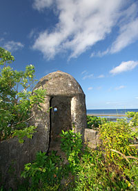 A garita or sentry box overlooking the beach