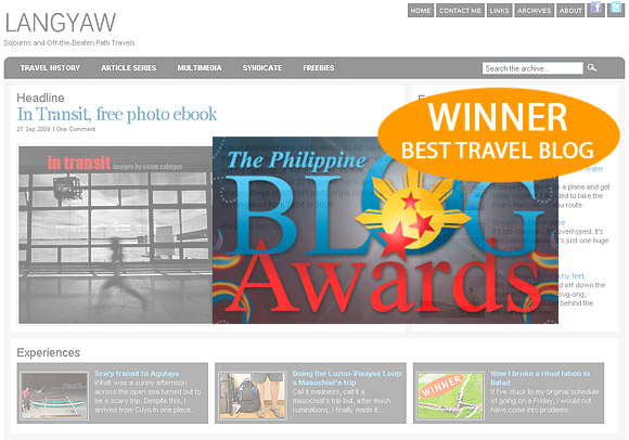 Langyaw.com is the Philippine Blog Awards 2009 winner of Best Travel Blog
