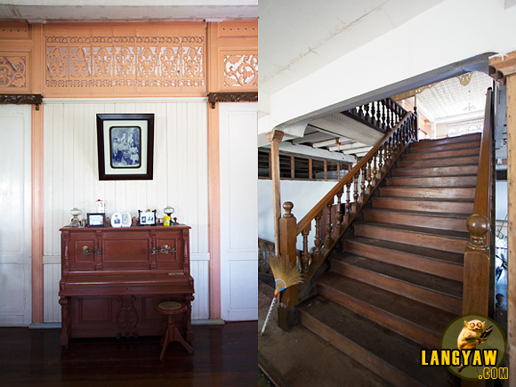 Interior details: left, section of wall with callado at top and piano; right, grand staircase made from philippine hard wood